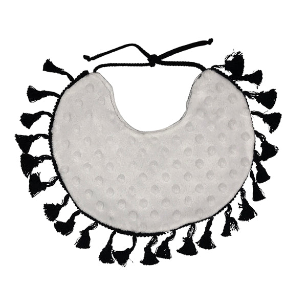 Reversible Tassel Bib in Dot Dot Dot by CURRENT x Woof Meow