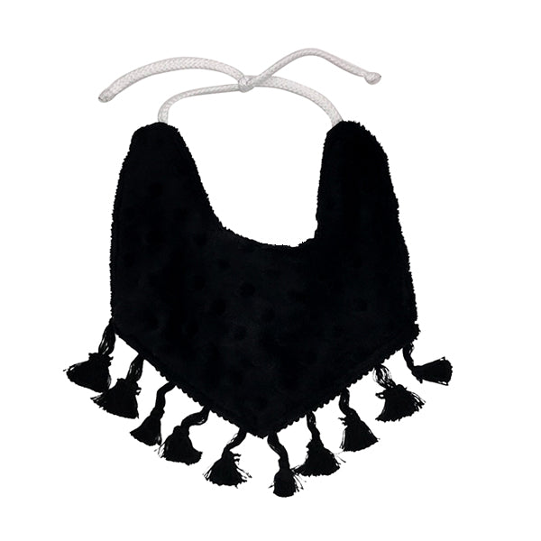 Reversible Tassel Bib in Untamed Dot by CURRENT x Woof Meow