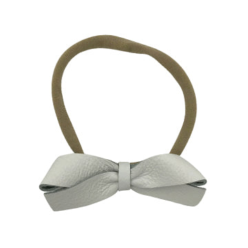 Schoolgirl Leather Bow Headband in White and Nude by CIALA Co