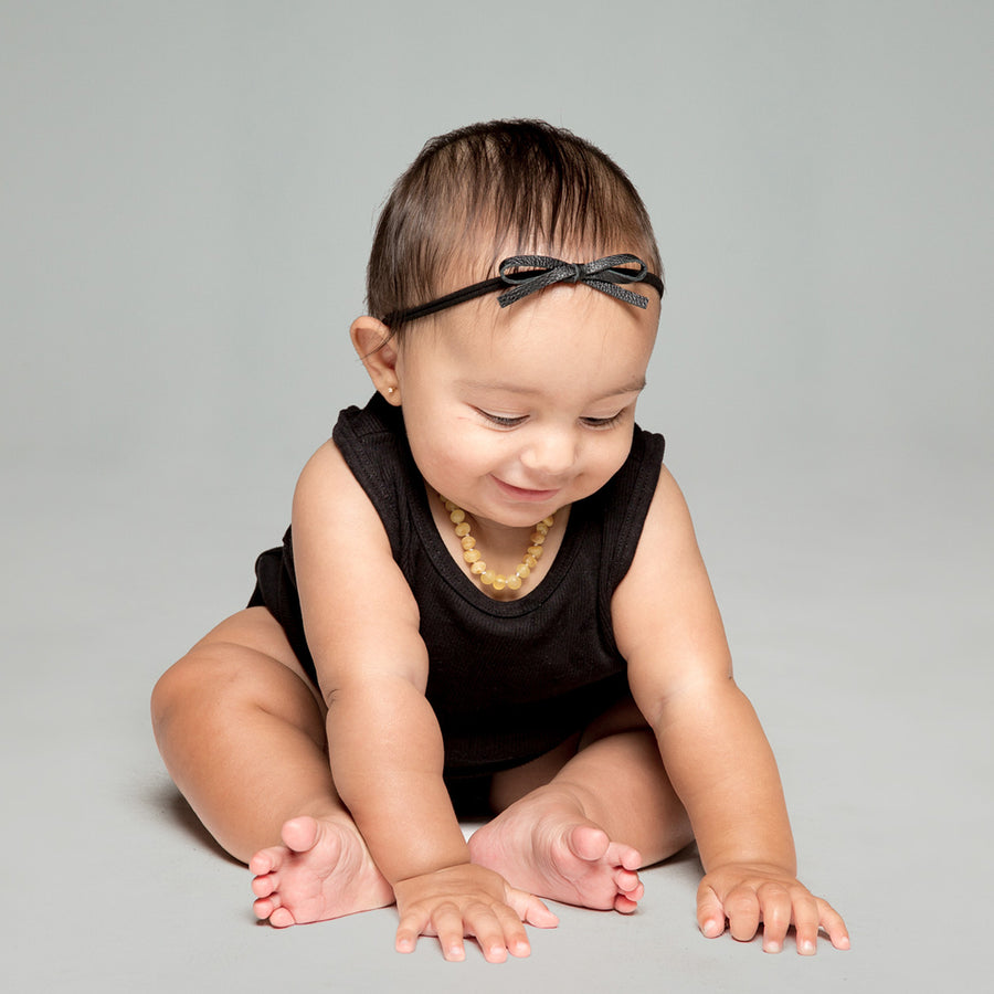 Tiny Leather Bow Headband in Black and Black by CIALA Co at CURRENT