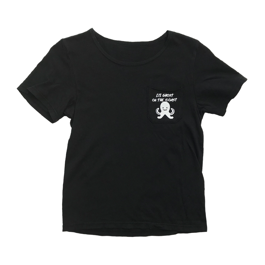 Unisex Lil Ghost Short Sleeve Pocket Tee in Black for Toddlers and Kids by CURRENT | CURRENT LABEL