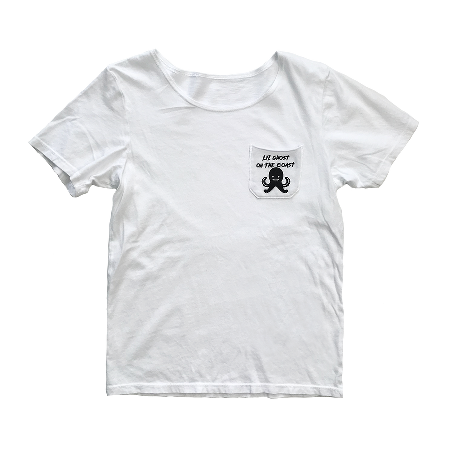 Unisex Lil Ghost Short Sleeve Pocket Tee in White for Toddlers and Kids by CURRENT | CURRENT LABEL