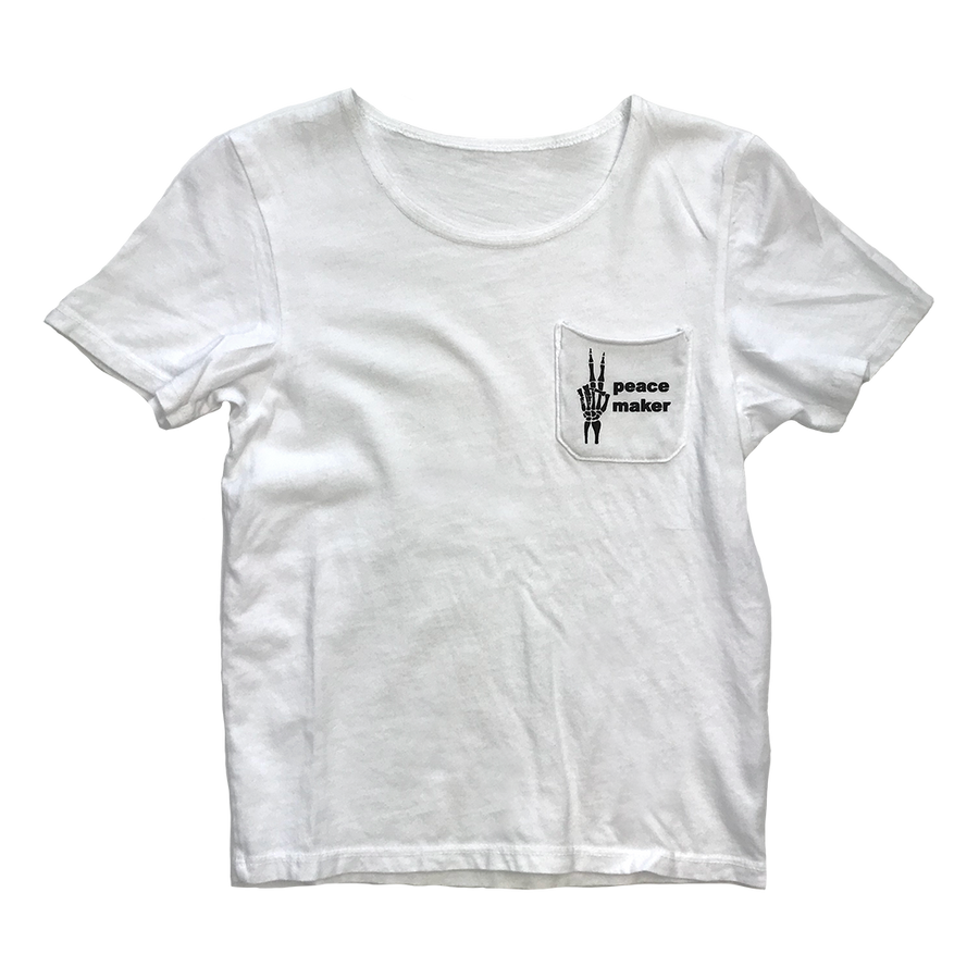 Unisex Peacemaker Short Sleeve Pocket Tee in White for Toddlers and Kids by CURRENT | CURRENT LABEL