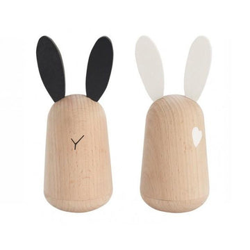 Usagi Wooden Rabbit Set in Black and White by Kukkia Kiko+