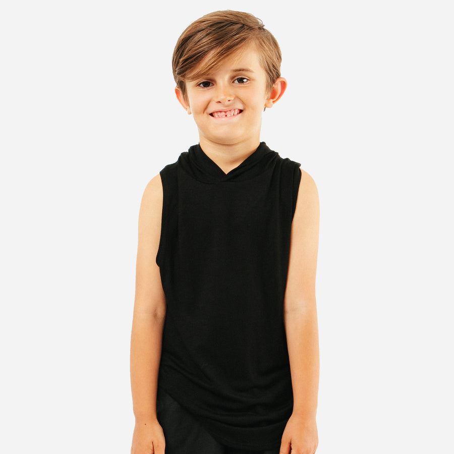 West Unisex Kids Hoodie Coverup Tank in Black by CURRENT | CURRENT LABEL