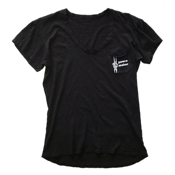 Women's Peacemaker Short Sleeve Pocket Tee in Black by Current | CURRENT LABEL
