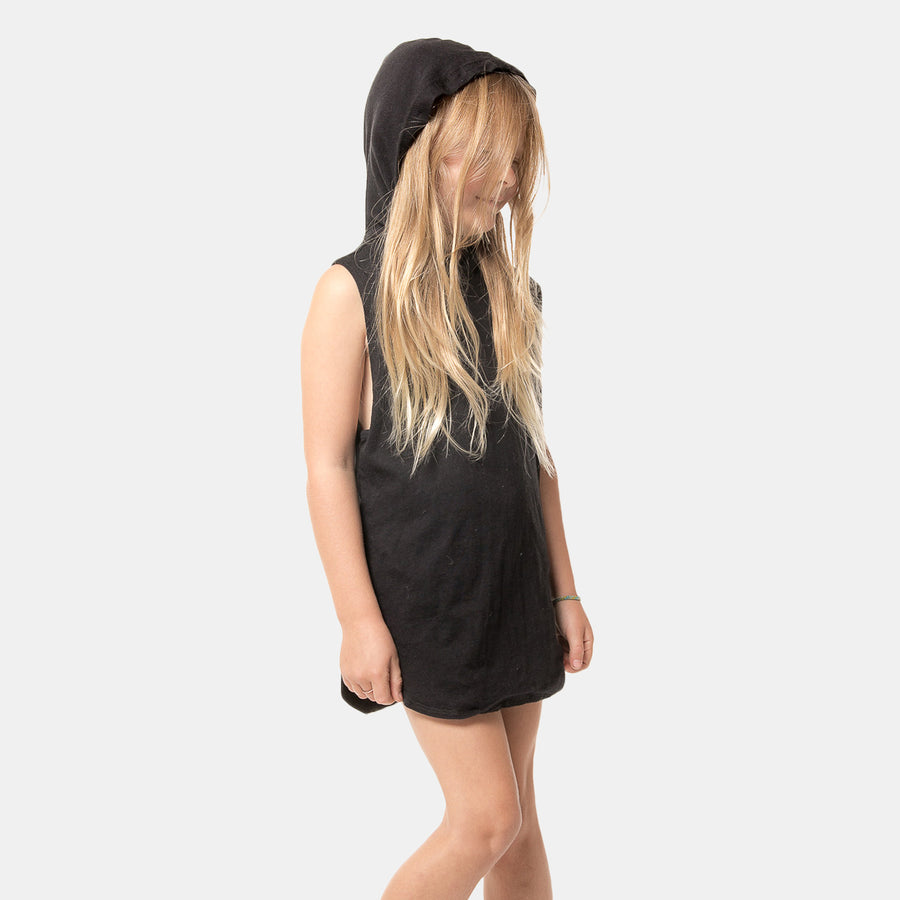 Zoe Girls Hoodie Dress Cover Up in Black by CURRENT