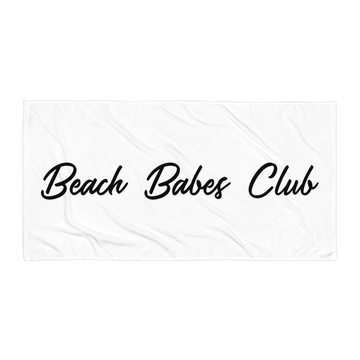 Beach Babes Club Beach Towel in White by CURRENT | Minimal. Modern. Monochrome Swimwear and Beachwear