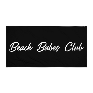 Beach Babes Club Beach Towel in Black by CURRENT | Minimal. Modern. Monochrome Swimwear & Beachwear