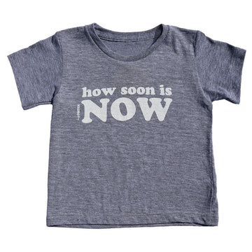 How Soon Is Now Kids Short Sleeve T-Shirt in Grey by Tiny Remix | CURRENT LABEL