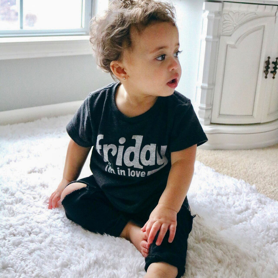 Friday I'm In Love Kids Short Sleeve T-Shirt in Black by Tiny Remix at CURRENT LABEL