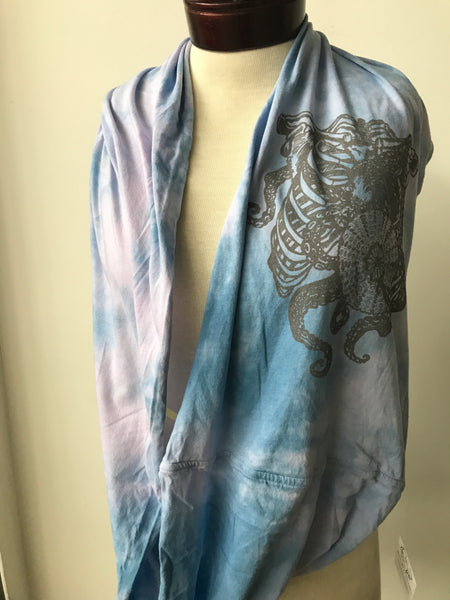 Hand dyed cotton jersey infinity scarf, octopus print O15