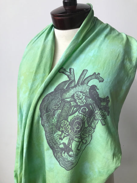 Hand dyed cotton jersey infinity scarf, heart print H1