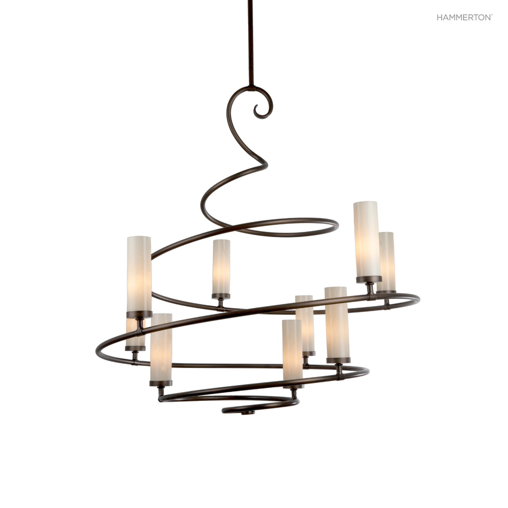 "CH1006-L This elegant spiral chandelier is surprisingly versatile. With blown glass cylinders it leans contemporary, with candles or linen s it leans more traditional. Offered in 4 sizes ranging from 24-60"" in diameter, and a wide selection of s and finis"