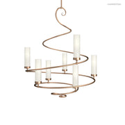 "CH1006-M This elegant spiral chandelier is surprisingly versatile. With blown glass cylinders it leans contemporary, with candles or linen s it leans more traditional. Offered in 4 sizes ranging from 24-60"" in diameter, and a wide selection of s and finis"