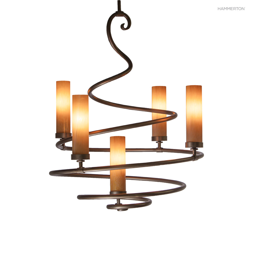 "CH1006-S This elegant spiral chandelier is surprisingly versatile. With blown glass cylinders it leans contemporary, with candles or linen s it leans more traditional. Offered in 4 sizes ranging from 24-60"" in diameter, and a wide selection of s and finis"