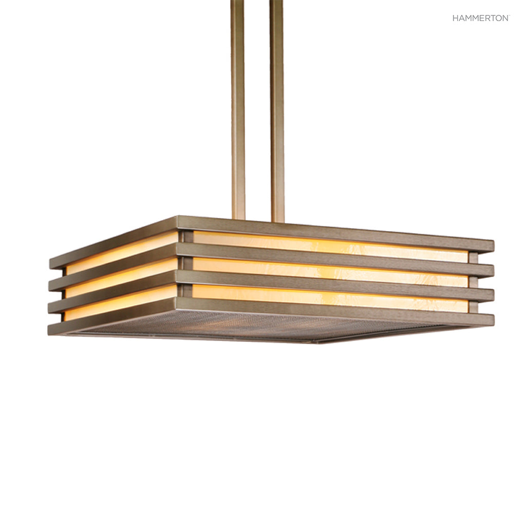 "CH2142 Architectural 30"" square chandelier with steel rib detailing, mesh bottom diffuser and a choice of glass, mica and acrylic lens materials. Available in 20+ finishes. American handcrafted to order. Can be customized in size, scale or materials."