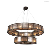 CH2249-L Tiered contemporary chandelier featuring two windowpane rings crafted from steel. Available in several glass, acrylic, or mica lens materials, and 20+ finishes. American handcrafted to order. Can be customized in size, scale and materials.