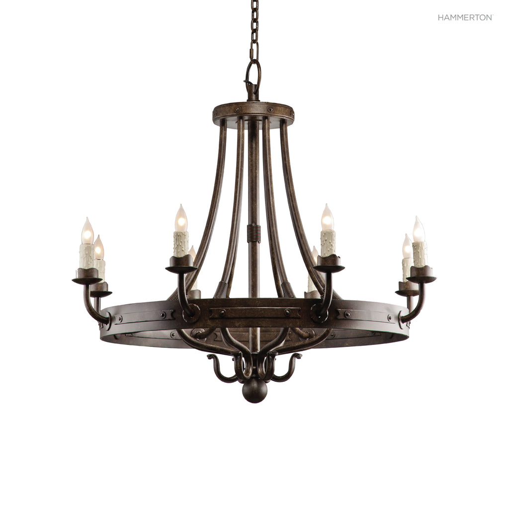 "CH9036-S Old-world inspired arm chandelier hand-sculpted from heavy gauge steel. Available in 4 sizes with several several  options and 20+ finishes. Extra Small: 32""H x 36""D; Small: 38""H x 42""D; Medium: 44""H x 51""D; Large: 50""H x 61""D. American handcraft"