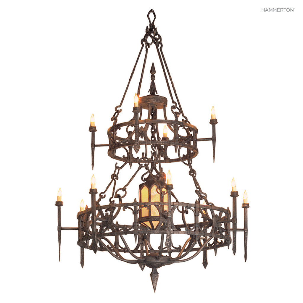 CH9038-M Impressive 2-tier chandelier featuring an octagonal pendant suspended in the middle. Available in 20+ finishes and a wide selection of glass and  options. American handcrafted to order. Can be customized in size, scale or materials.