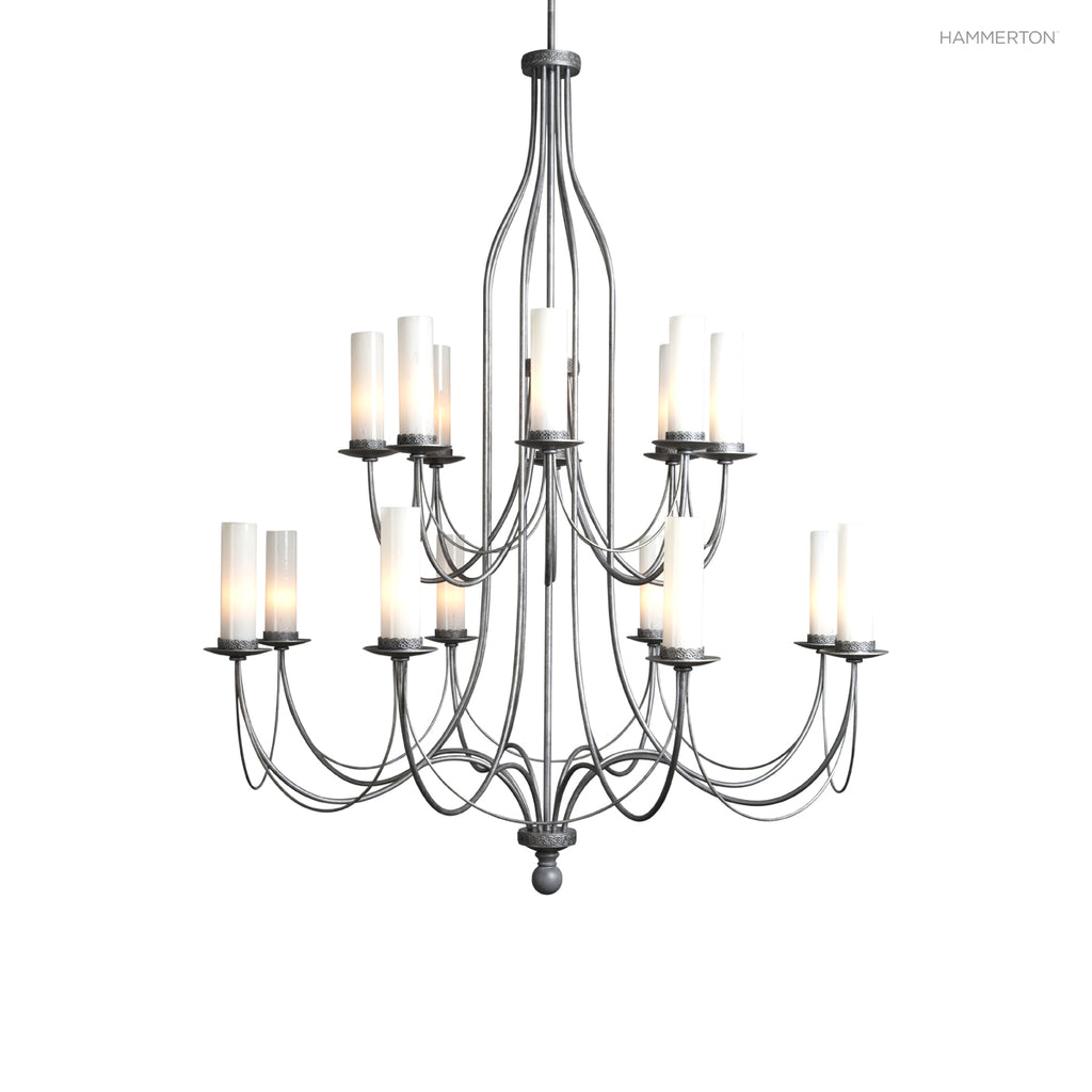 CH9223 Sleek 16-arm double tier candelabra chandelier. Can be ordered with or without crystal swag. Available in 20+ finishes and a wide selection of  options. American handcrafted to order. Can be customized in size, scale and materials.