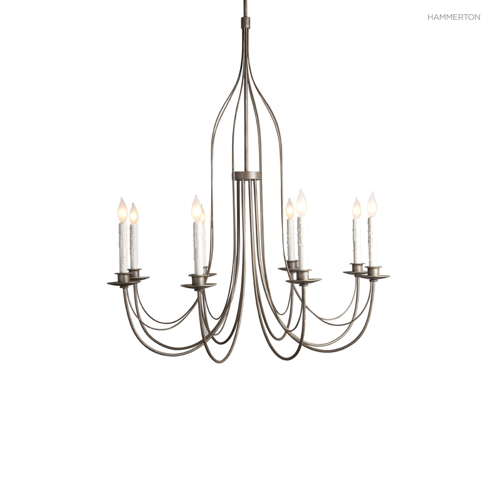 CH9224 Sleek 8-arm single tier candelabra chandelier. Can be ordered with or without crystal swag. Available in 20+ finishes and a wide selection of  options. American handcrafted to order. Can be customized in size, scale or materials.