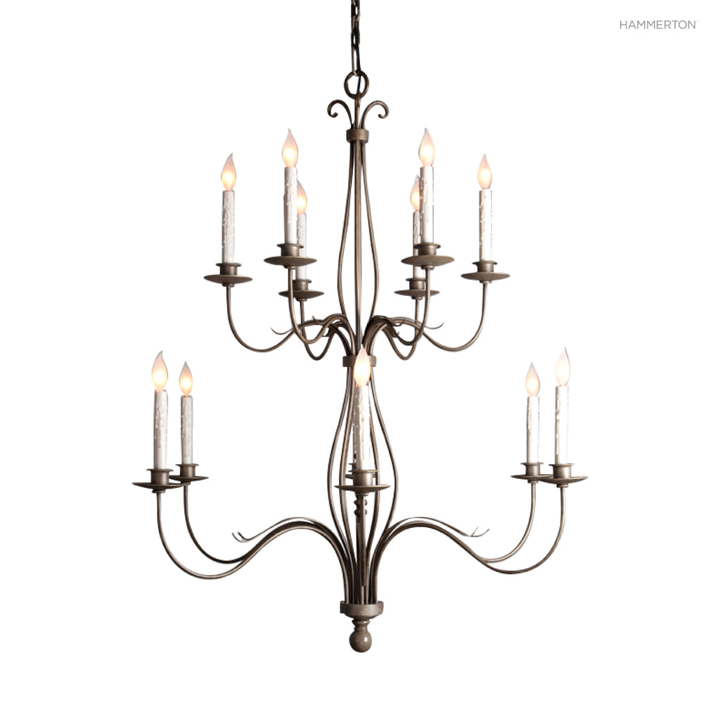 CH9233 This graceful two-tier candelabra chandelier offers an updated interpretation of traditiona French Country style, with sleek lines and subtle scroll details. Available in 20+ finishes and a wide selection of  options. American handcrafted to order.