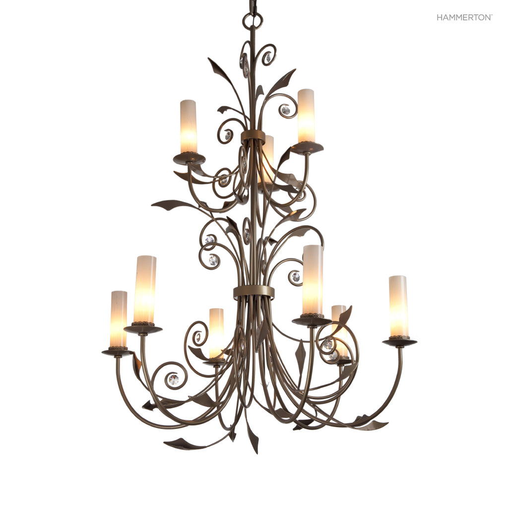 CH9238 Dramatic two-tier chandelier combining hand-sculpted organic details with elegant crystal accents in an old-world inspired silhouette. Available in 20+ finishes and a wide selection  options. American handcrafted to order. Can be customized in size
