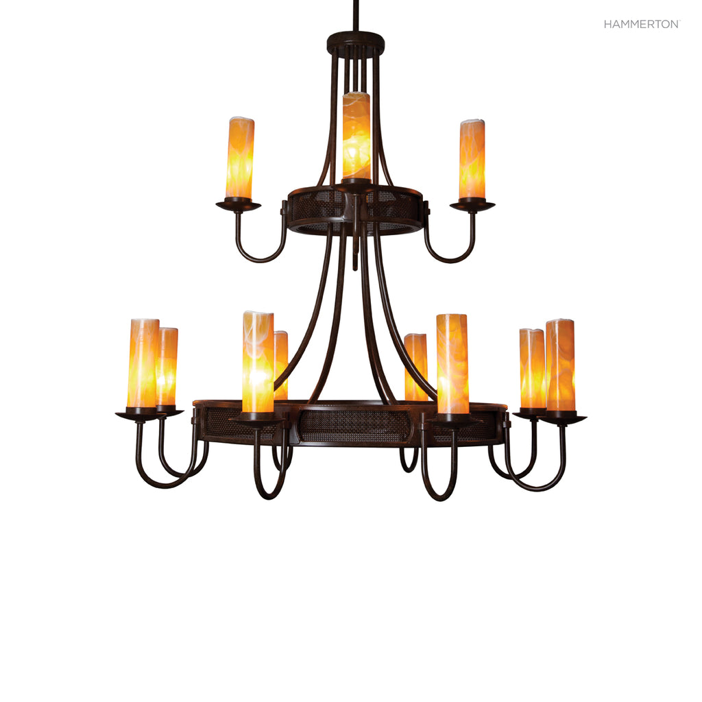 CH9241 Urban inspired two-tier candelabra chandelier with banded mesh detail and 12 s. Available in 20+ finishes and a wide selection of  options. American handcrafted to order. Can be customized in size, scale or materials.
