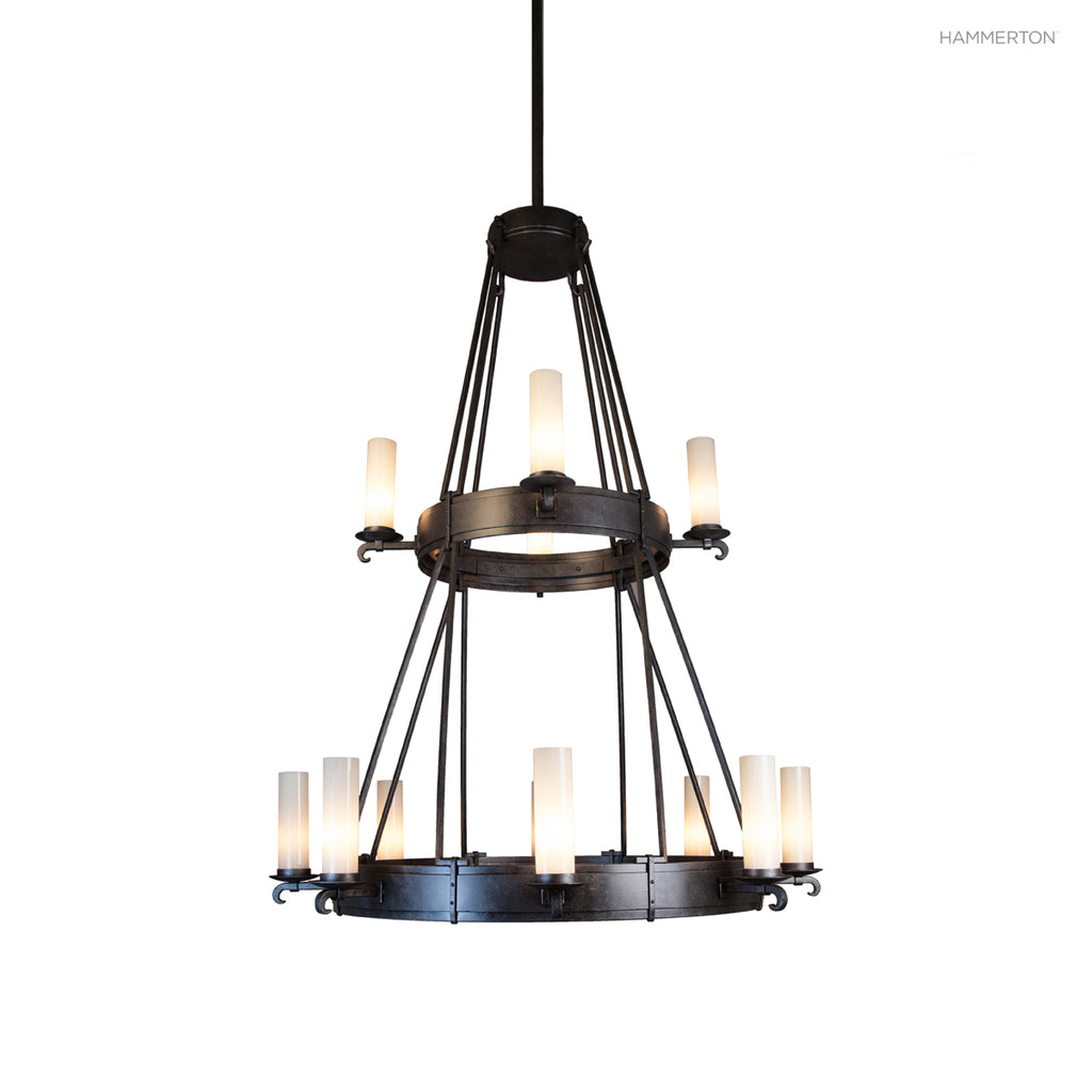 CH9244 Medieval style two-tier chandelier with hand-forged details and 12 s. Available in 20+ finishes and a wide selection of  options. American handcrafted to order. Can be customized in size, scale or materials.