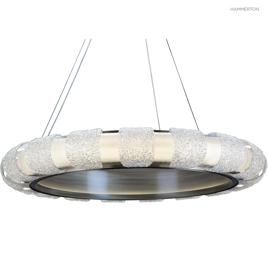 CHA2176-M Odeon Chandelier: Elements of modern and contemporary sytle converge in this elegantly straightforward design, handcrafted from kiln-fused art glass and polished steel and illuminated with integrated LED.