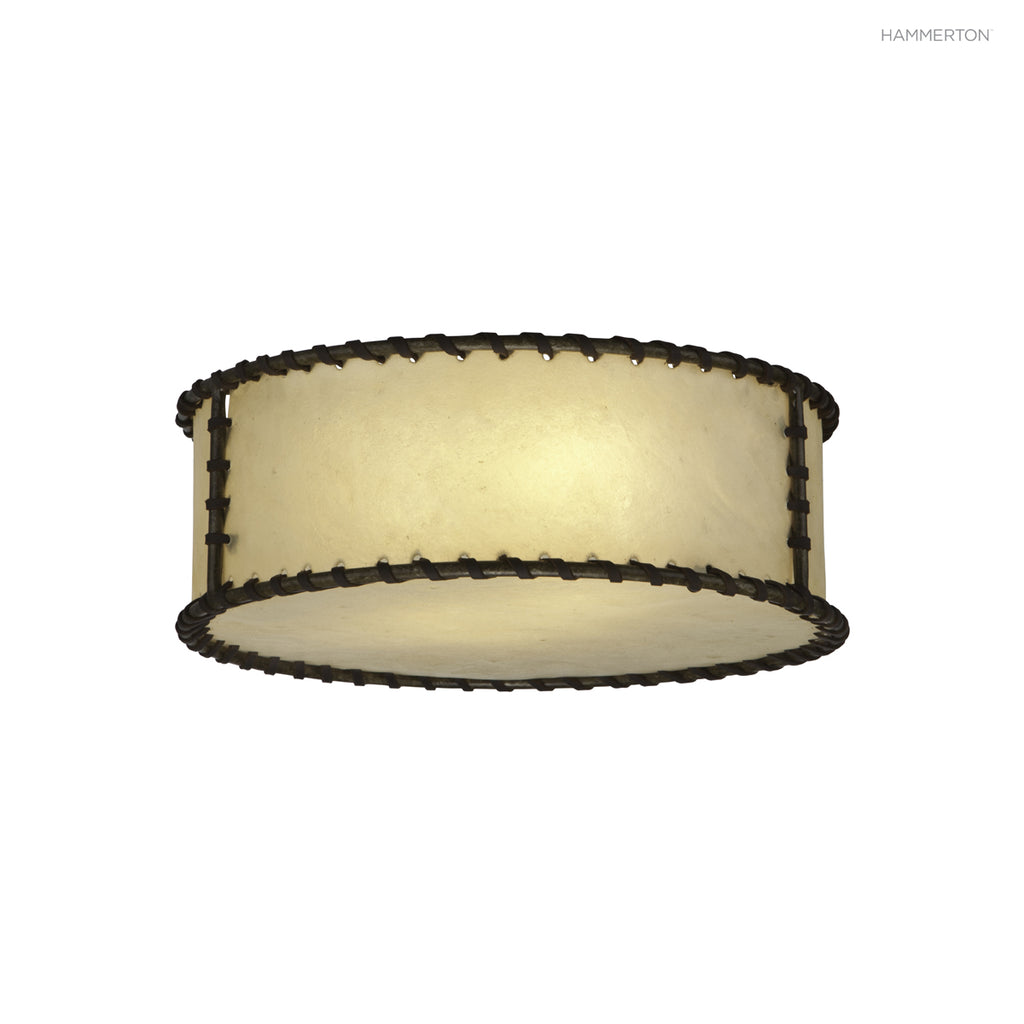 CL5001-M Drum-style flush mount in lashed rawhide and a wide selection of finishes. American handcrafted to order. Can be customized in size, scale or materials.