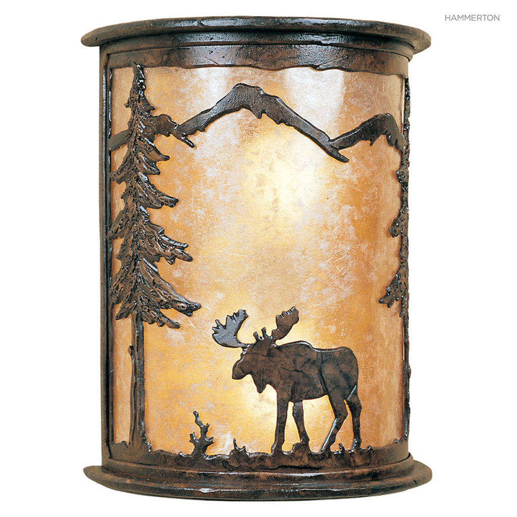 CS6018 Wildlife-inspired half-round sconce with a meticulously handcrafted animal landscape motif silhouetted against a glass, mica or acrylic diffuser. Damp rated for outdoor use. Available in bear, buffalo, deer, elk, horse, moose or wolf motif, as well