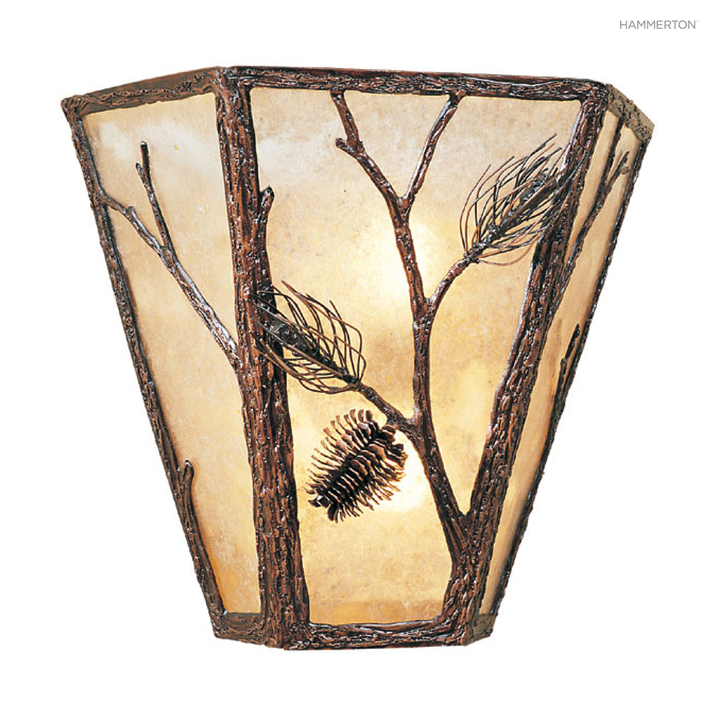 CS7016 Nature-inspired three-sided cover sconce with an organic motif meticulously hand-sculpted in steel. Available in Aspen, Pine, Branch, Maple or Oak motifs, a choice of lens options in mica, glass or acrylic, and several finishes. American handcrafte