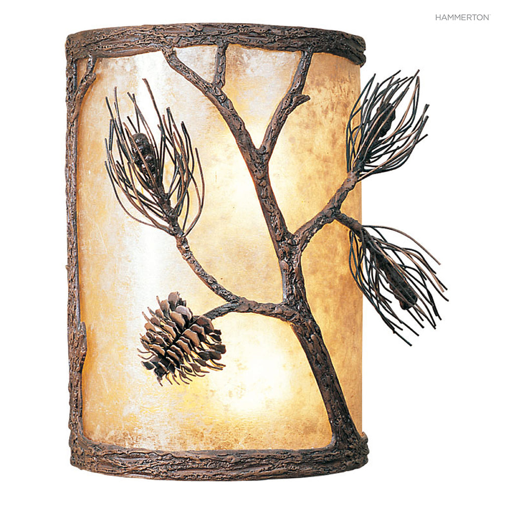 "CS7017 Nature-inspired 13""H half-round cover sconce with an organic motif meticulously hand-sculpted in steel. Available in Aspen, Pine, Branch, Maple or Oak motifs, a choice of lens options in mica, glass or acrylic, and several finishes. American handcr"