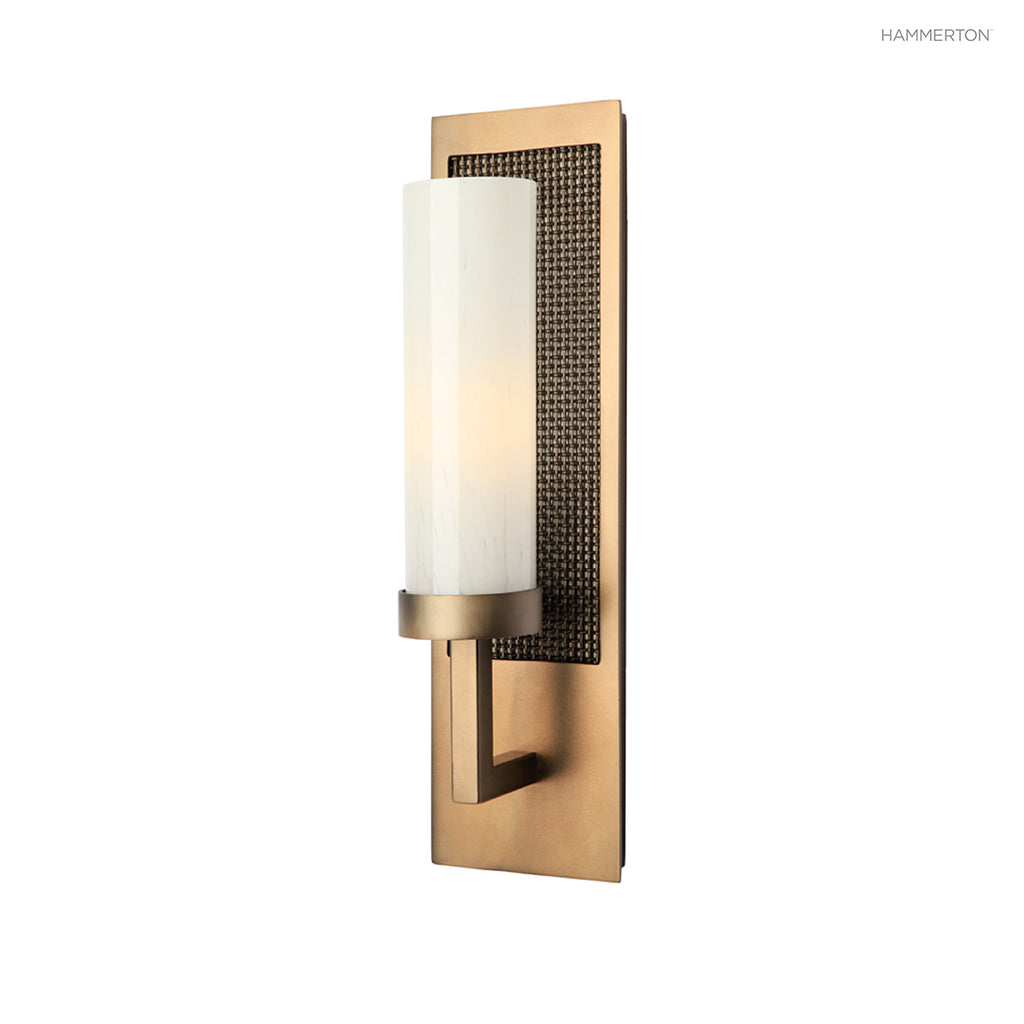"ID2155-L Sleek cylinder arm sconce with decorative rectangular backplate in a choice of motifs. Available in 2 sizes with a choice of cylinder styles, diffuser materials, backplate motifs and 20+ finishes. Small: 18""H x 5""W x 4""D (ADA compliant); Large: 1"