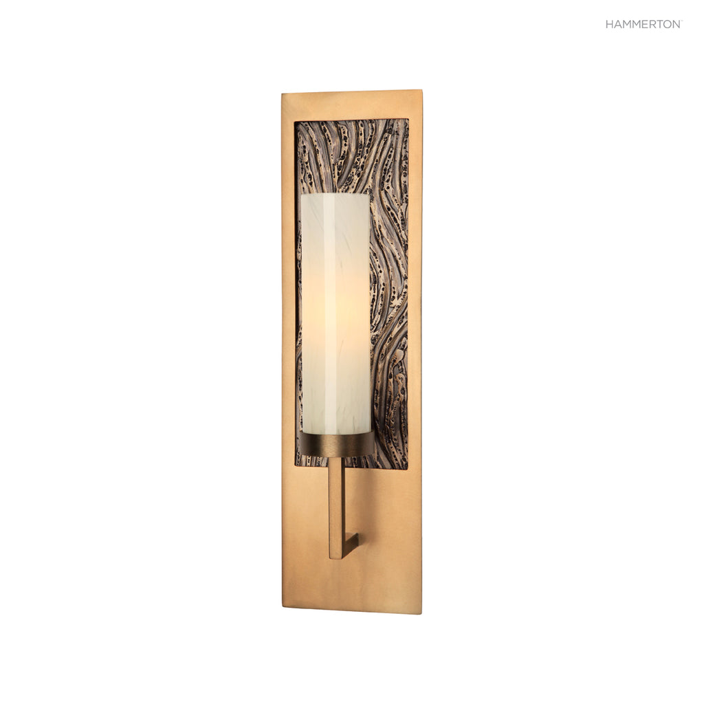 "ID2155-S Sleek cylinder arm sconce with decorative rectangular backplate in a choice of motifs. Available in 2 sizes with a choice of cylinder styles, diffuser materials, backplate motifs and 20+ finishes. Small: 18""H x 5""W x 4""D (ADA compliant); Large: 1"