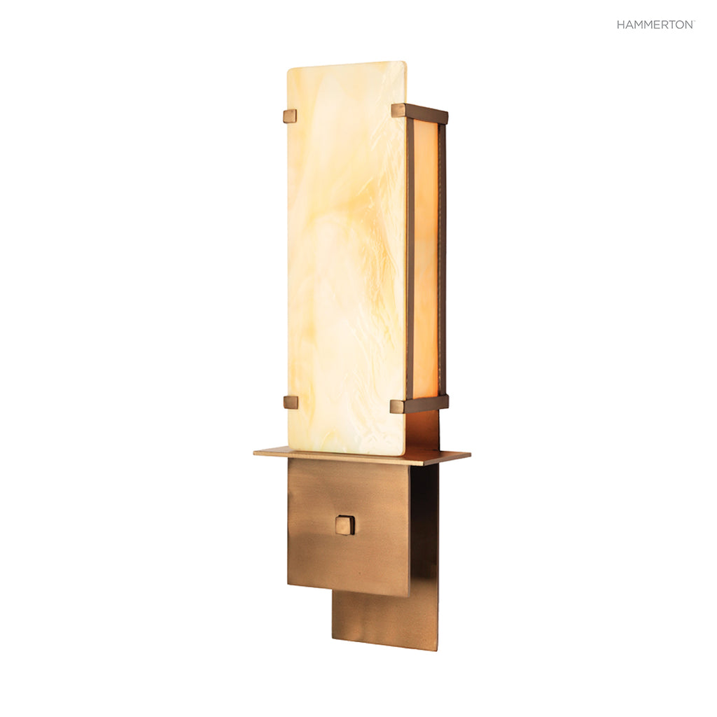 ID2176 Sleek glass panel cover sconce in with steel details. ADA compliant. Available in a wide choice of finishes. American handcrafted to order. Can be customized in size, scale or materials.