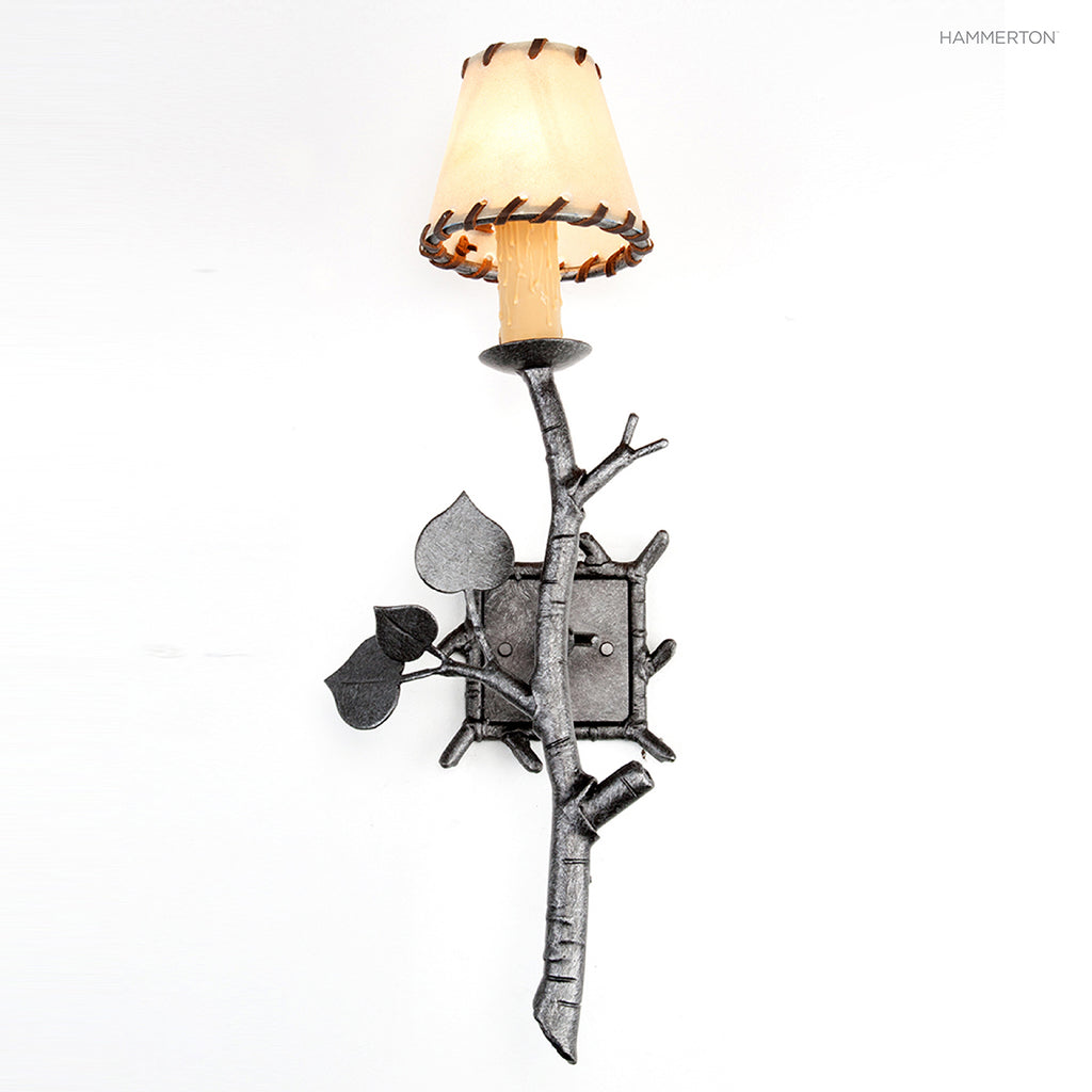 ID7011 Organic-inspired single light arm sconce with a life-like 'branch' motif meticulously hand-sculpted in steel. Available in Aspen, Pine, Branch, Maple or Oak motifs, as well as a choice of several s and 15+ finishes. American handcrafted to order. C
