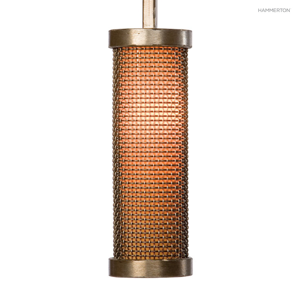 LA2102 Contemporary cylinder design in fine mesh layered with a choice of diffuser materials. Available in 20+ finishes. American handcrafted to order. Can be customized in size, scale and materials.