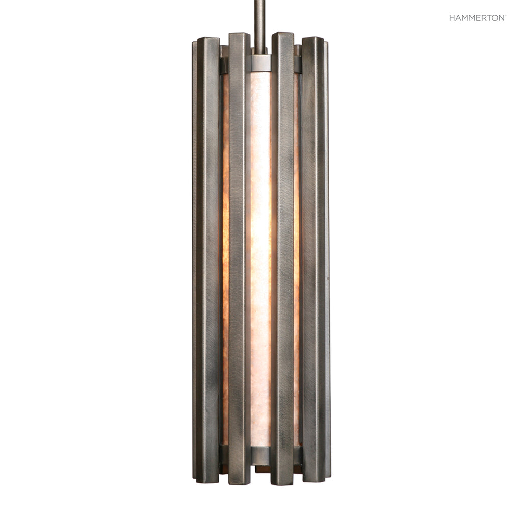 LA2117 Contemporary pendant with heavy gauge steel ribs surrounding a diffuser in a choice of several glass, acrylic or mica materials. Available in 20+ finishes. American handcrafted to order. Can be customized in size, scale and materials.
