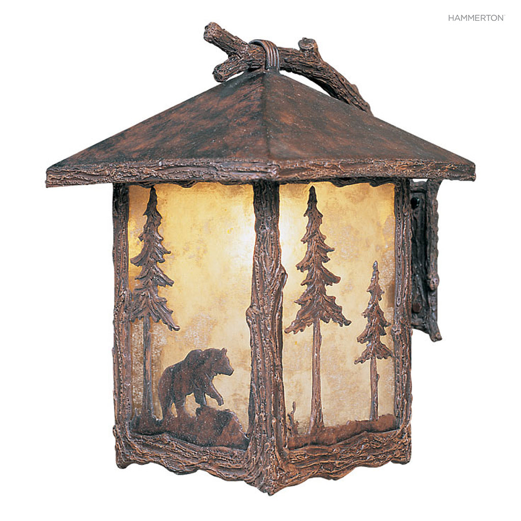 OD6008-L Wildlife-inspired lantern sconce with a life-like textured 'branch' arm and meticulously handcrafted animal landscape motif silhouetted against a glass, mica or acrylic diffuser. Damp rated for outdoor use. Two sizes. Available in bear, deer, elk