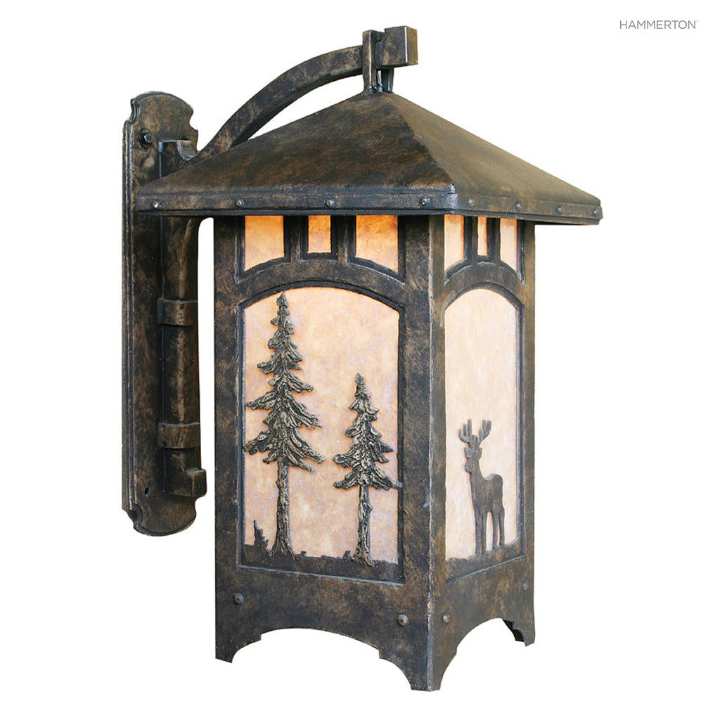 OD6032-L Wildlife-inspired lantern sconce with a meticulously handcrafted animal landscape motif silhouetted against a glass, mica or acrylic diffuser. Damp rated for outdoor use. Two sizes. Available in bear, deer, elk, horse, moose or wolf motif, as wel