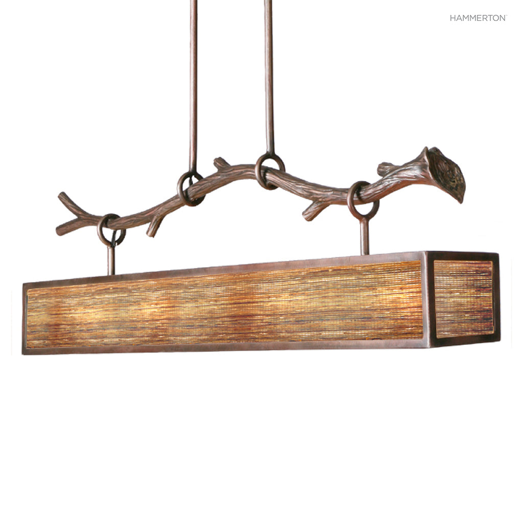 PL2108 Sleek box-style linear suspension with beautiful branch suspension motif in artisan sculpted steel. Available in a wide selection of lens and finish options. American handcrafted to order. Can be customized in size, scale or materials.
