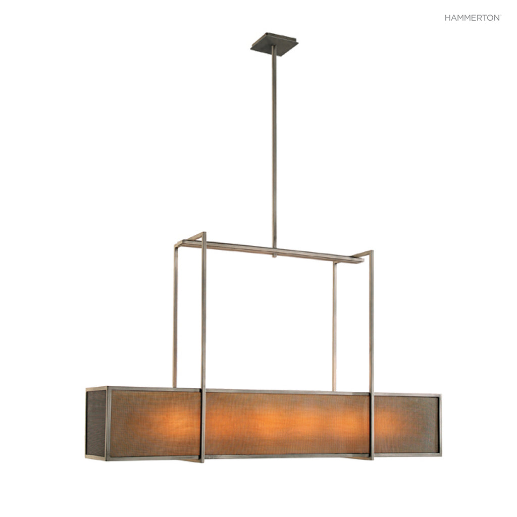 PL2152 Box-style linear suspension with steel rod suspension. Avaialble in 20+ finishes and a wide selection of lens materials in mica, glass or acrylic. American handcrafted to order. Can be customized in size, scale or materials.