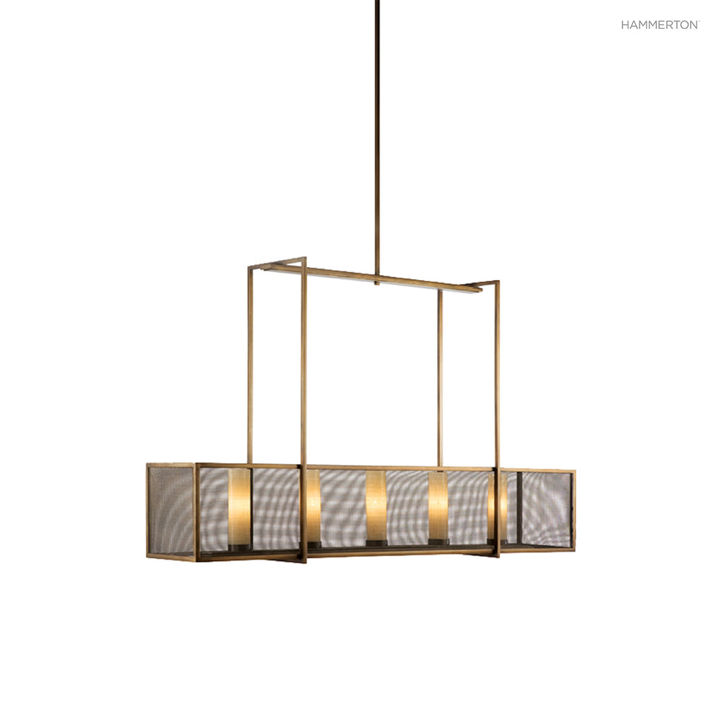 PL2159 Contemporary box-style linear suspension with an outer lens in glass or fine woven mesh enclosing cylinder s within. Available in a wide selection of   and finish options. American handcrafted to order. Can be customized in size, scale or materials