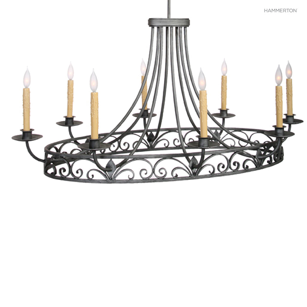PL9203 Old world inspired oval candelabra chandelier with eight arms and delicate scroll detail. Available in 20+ finishes and a wide selection of  options. American handcrafted to order. Can be customized in size, scale or materials.