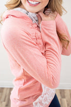 Load image into Gallery viewer, Pretty in Pink Lace Accented Hoodie