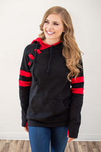Load image into Gallery viewer, Black and Red Varsity Hoodie