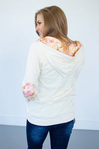 Cream Quilted Floral Half Zip